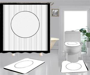 Hipster Print Shower Curtains는 고급 4 조각을 설정해야합니다 욕실 안티 - 엿보는 비 슬립 탈취제 욕실 화장실 매트
