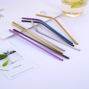 Colorful Stainless Steel Drinking Straws Straight and Bent Reusable Filter With Brush DIY Tea Coffee Tools Cleaner Brush DHF3520