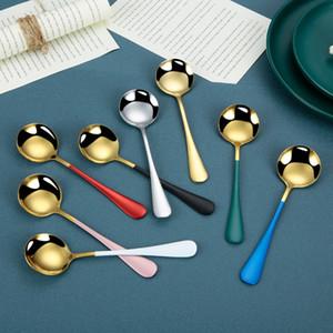 Café de aço inoxidável agitação colheres de sorvete colorido Sobremesa Sopa Sopa Colher de 7 polegadas Reusável Açúcar Rodado Stoping Spoons