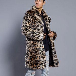 KANCOOLD Mens Leopard Plus Thickening Long Coat Warm Thick Fur Collar Coat Jacket Faux Fur Parka Cardigan male fashion Style 816 201120
