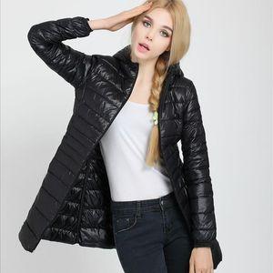 Weweya Big Size 7XL Hoodie Long Down Coat Women Winter 2020 Casual Duck Down Champagne Zip Winter Jacket Women Duck Coat