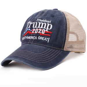 HT2547 Men Women Summer Hat Trump 2020 Hat Baseball Cap Keep America Great Embroidery Army Trucker Mesh Cap Cotton Baseball Hat Y1130
