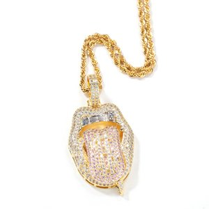 Hip Hop US Gold Tongue Pendant Necklace K Gold Plated with Pink Zircon Rap Necklace 24inch Twist Chain