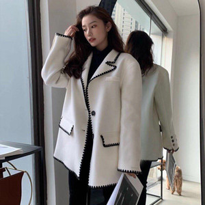 2020 winner new women wool blazer jacket female high quality patchwork coat ddxgz3