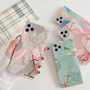 Sparkle Square Plating Marble Geometry Back Cover Full Protective Soft Bumper Rhombus Shell for iPhone 12 11 Pro Max XR XS 8 Plus
