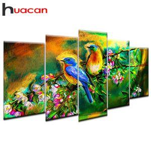 Huacan 5 Pz / Set Diamond Painting Birds multi-picture combinazione mosaico fai da te diamante ricamo punto croce decor regalo wall art 201202