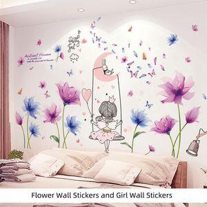 [shijuekongjian] Cartoon Girl Wall Stickers DIY Flowers Plants Mural Decals for Kids Bedroom Living Room House Decoration