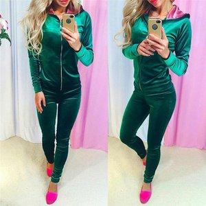 Spring Velour Tracksuit Women Sets Zip Hoodie Top and Pants Two Piece Set Velvet Tracksuit Sweat Suits Outfits Conjunto Feminino