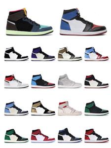 s chaussures de basket-ball de haut nouveau Toe royal blanc noir rouille rose cravate colorant chicago lumière fumée taille sneakers sport gris 36-46