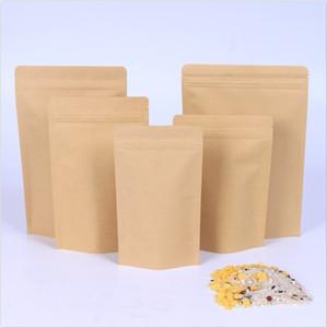 1000 adet Fermuar Kahverengi Kraft Alüminasyon Kılıfı, Stand Up Kraft Kağıt Alüminyum Folyo Çanta Açılır Kapanabilir Zip Kilit Kavrama Mühür Gıda Sınıfı GWC4613