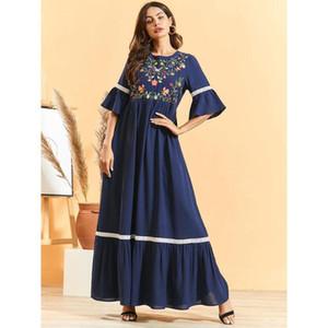 women floral embroidery maxi robe summer flare short sleeve dress slim waist ramadan kaftan EID abaya islamic muslim dubai gown
