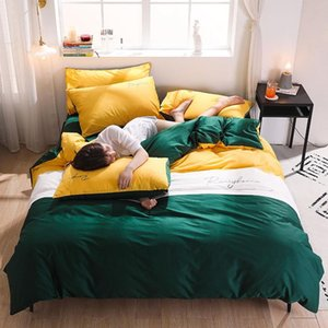 Nordic Big Stripe Bedding Set Duvet Quilt Cover Flat Sheet Linen 100%Cotton King Adult Bedclothes Solid Color Blocking Simple