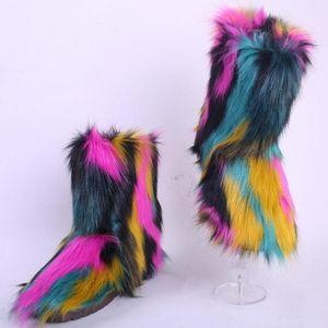 Yeni kadın açık kar botları taklit kürk pamuk çizmeler moda bayanlar sıcak soğuk geçirmez peluş sahte kürk ayakkabı kız tüylü