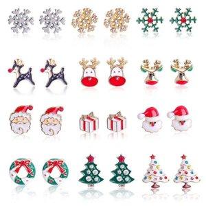 12 styles Christmas Charms Earrings Tree Earrings Alloy Drip Oil Stud Earring Bells Snowflake Christmas Earrings party favor T2C5299