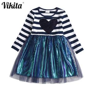 VIKITA Girls Striped Dress Toddler Baby Girls Princess Dress Kids Sequins Tutu Party Prom Wedding Dress Children Heart Dresses F1203