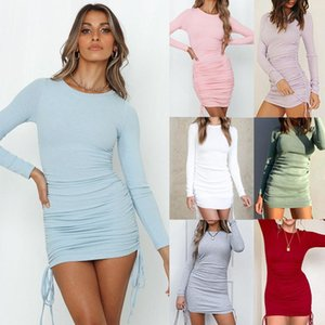 2020 Autumn And Winter Women's Sexy Long-sleeved Drawstring Adjustable Pleated Slim Mini Casual Streetwear Round Neck Dress