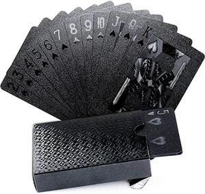 Одна палуба золотая фольга покер евро стиль пластиковый покер игральные карты водонепроницаемые карты азартные игры доска игры черное золото