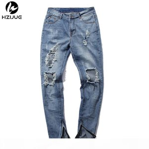 Wholesale- HZIJUE hip hop pants kanye mens jumpsuit frazzle fashion light blue skinny distressed jeans men ripped