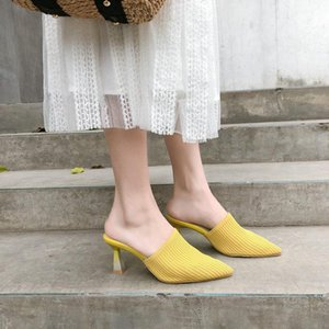 Hot Sale- Women Summer Women Knitting High Thin Heel Soild Color Roman Crystal Slippers Pump Ladies Sexy Leisure Outdoor