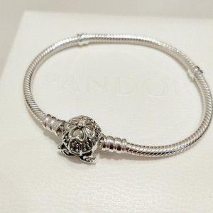 High-quality 925 Sterling Silver Pumpkin Coach Clasp Moments Bracelet Fits European Pandora Style Charms and Beads