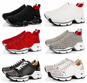SOCK Sneaker Designers Men Donna Red Fashion Casual Shoes Mujeres Low Top Pull-on Sneaker con picos de Krystal Blanco Zapatos Casuales