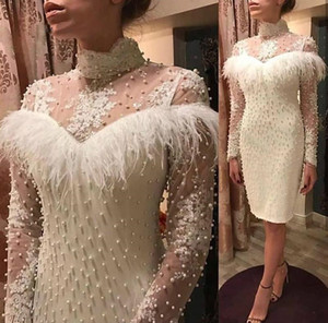 Elegant White Short Mother Of The Bride Dresses High Neck Long Sleeves Appliques Lace Beaded Pearls Luxury Feather Wedding Guest Dress Party