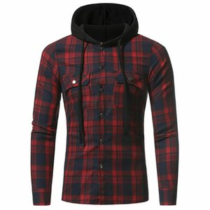 Hot Classic Plaid Shirts Men Fashion Hooded Casual Shirts Male Spring Autumn Mens Clothes Printed Hiphop Streetwear