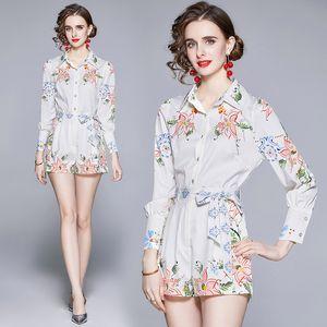 High-end Girl Set Shirt+pants Print Long Sleeve Womens Two Piece Set Spring Autumn Blouse Pants Fashion Elegant Lady Suits