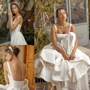 IVORY Lihi Hod Beach Свадебные платья Квадратные Шеки Слиссированные свадебные платья Обеспечение Линия Разведка Поезд Сатин Накрытые Кнопки Back Robe De Mariee