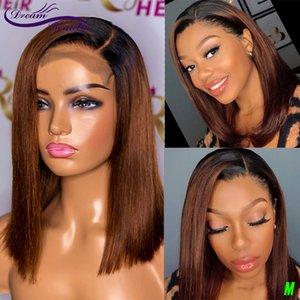 Perruques de cheveux humains de la dentelle droite Remy Perruques Brésiliennes 180% ombre Brown Bob perruques en dentelle perruque frontale pour femmes noires