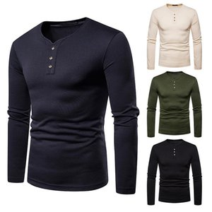 Men'S Taille Plus chaud manches longues talonnage shirt Bouton V-Neck Casual Couleur Solid Slim Top