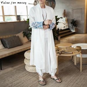 Shawl Loose Fashion Long Kimono Windbreaker Outwear Summer China Style Men Cardigan Thin Coat Trench Jacket Male White