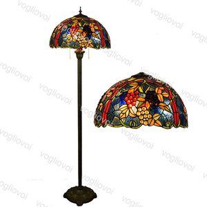Floor Lamps European Retro Multicolor Glass Grape 17 Inch 110-240V Foot   Zipper Switch For Living Dining Room Bedroom Bar DHL