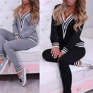 2 Piece Set 2021 Womens TrackSuit With Hood Long Sleeve Crop Top And Legging Pants Black
