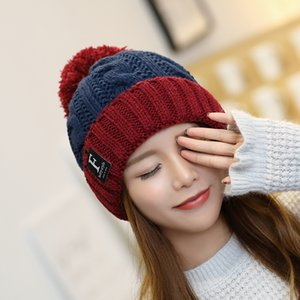 Wholesale New autumn and winter wool hat outdoor Plush warm hat letter women's ear protection wool ball knitted pullover hat