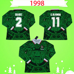 México 1998 Jerseys de fútbol Retro manga larga Vintage Camisetas de fútbol verde Home Blanco H.Sanchez Hernández Camiseta de Futbol de manga completa