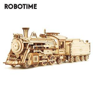 Robotime Rokr DIY Laser Corte Vapor Movable Trem de madeira do edifício Modelo Toy Presente Assembléia Kits para Crianças Adulto MC501 Q1119