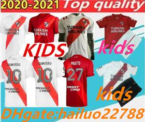 2020 Enfants Plaque de la rivière Home Football Blanc Jersey Plaque de rivière Rouge G.Martinez Quintero PratTosoccer Chemise 20/21 Riverbed Enfants Football Jers