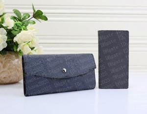 2020 sem zíper 2 pcs 1 conjunto de carteira de luxo carteira woodet womens designer bolsas bolsas de embreagem bolsa de couro 6 cores 001