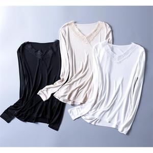 Women's Silk 50% Viscose Knit Lace Neck T-Shirt Long Sleeve undershirt Classical top SG314 A1112