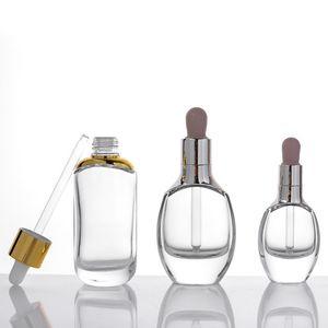 플랫 라운드 투명 유리 에센셜 오일 향수 병 액체 시약 피펫 피펫 병 15ml 30ml 50ml 실버 / 골드 캡