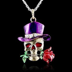 Retro Head Rose Flower Pendant Women Lady Sweater Chain Jewelry Vintage Skull Necklace Skeleton Purple