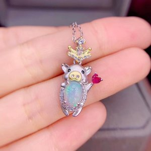 MeiBaPJ Real Natural Opal Gemstone Animal Pendant Necklace 925 Pure Silver Colorful Stone Fine Wedding Jewelry for Women Z1126