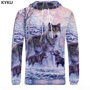 KYKU Wolf Hoodies Womens Mens Sweatshirt Animal Large Family Love Sweatshirt Pocket Hoodie Sleeve Big Size Long Casual 3d Hooded