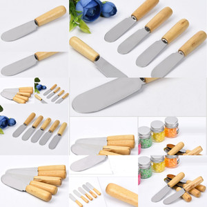 Non-Stick Knife Butter Food Wooden Spatula Cake Handle stainless steel Cheese Dessert Scraper Baking Tools