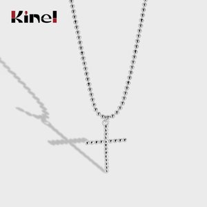 Kinel Trendy Silver 925 Jewelry Round Beads Cross Pendant Necklaces For Women Gifts Z1126