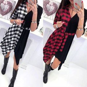 Women Check Shirt Knee Dress Ladies Long Sleeve Plaid Romper dress V Neck Loose Color Matching Irregular Ladies Dresses Vestido