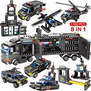 1122PCS Building Blocks Robot City Police Toys For Boys Designer Vehicle Aircraft Educational Truck Blocks Compatible ED Weapons Q1127