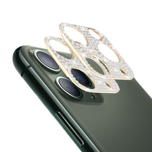 Vidrio templado de diamante de película de cámaras para iPhone 12 11 Pro Max Cámara Lente protector de pantalla Glitter Shellewling Funda completa con caja de venta al por menor