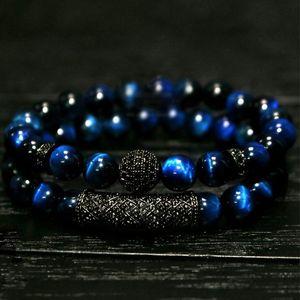 New 2Pcs  Set of Luxury Natural Tiger Eye Stone Bracelet Ladies And Gentlemen Jewelry Necklace Bracelet Gift Men's Bracelet Q1201
